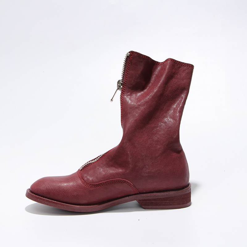 Vangull Women Boots 2019 New Fashion Shoes Woman Genuine Leather Sheepskin Mid-calf Boots Four Seasons All-match Ladies