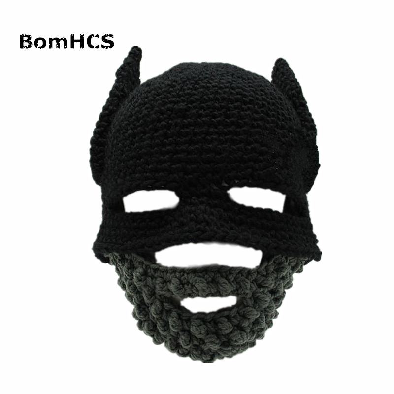 BomHBeard Batman Cap Knight Hat Gorro Handmade Crochet Winter Warm Balaclava Funny Party Mask Beanie Women Men Cool Novelty Gift