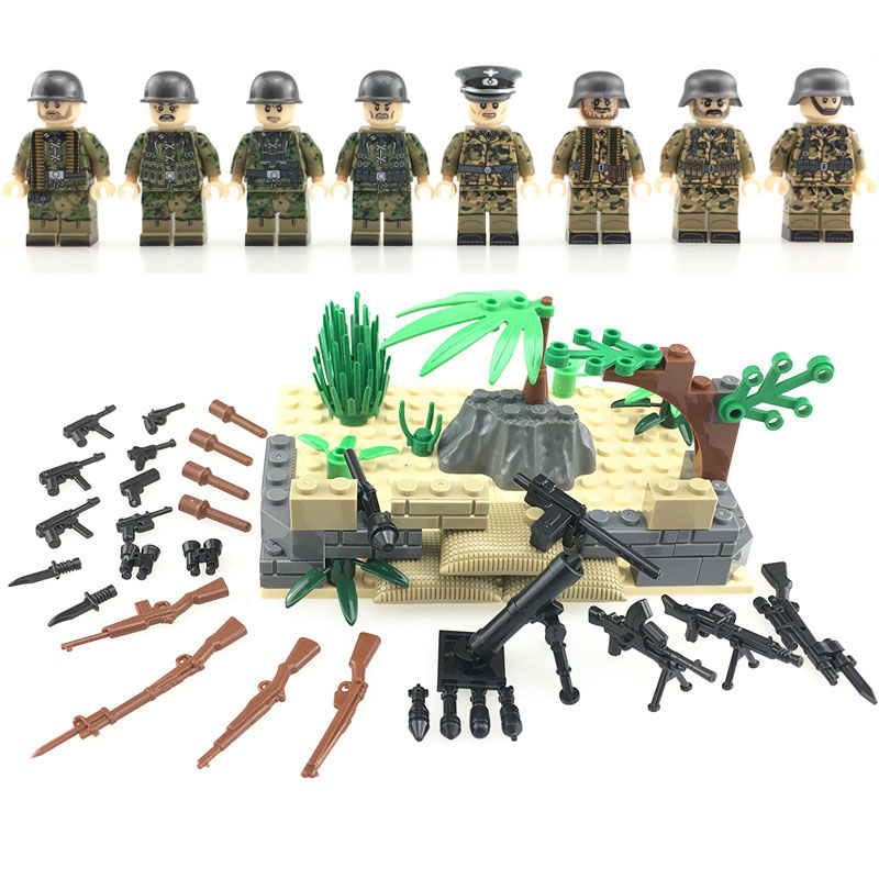 8PCS Weltkrieg 2 German Army Assault Special Force Soldiers Weapons Figure Building Blocks Toys For Children Military Blocks Toy