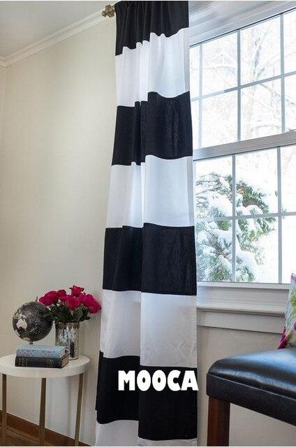 100% baumwolle Schwarz und Weiß Horizontale Streifen Vorhang Panel ...