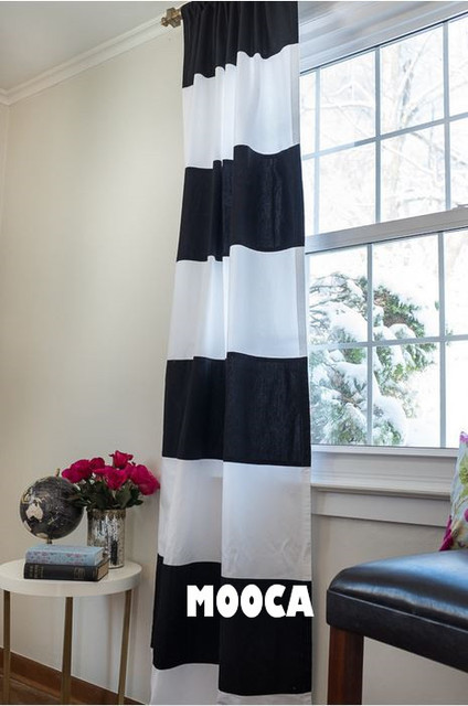 100% Cotton Black And White Horizontal Stripe Curtain Panel Modern Style  Living Room Curtain