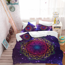 Bohemia Mandala Bedding Set Tie-Dyeing Colorful Flowers Duvet Cover Purple Galaxy King Queen Pillowcase Home Decor