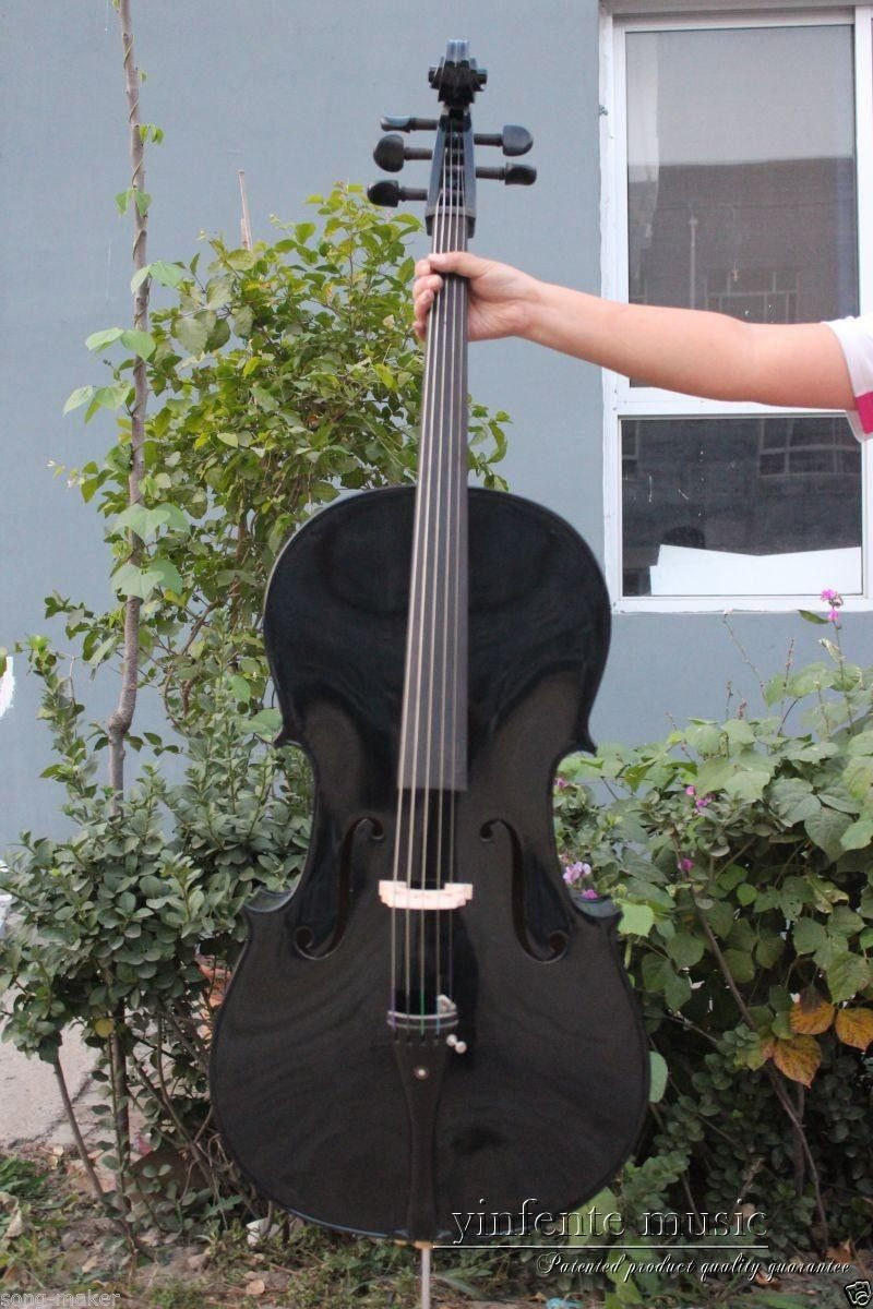 New 4/4 cello Spruce top Maple Back Ebony Parts Powerful Sound Black Color 4 4 electric cello 4 string silent powerful sound ebony part top grade you can choose color i can make for you