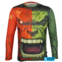 ARSUXEO Men Cycling Bike Bicycle Long Sleeves Jerseys Shirts Hulk Batman Spider Men Captain America Iron Man MTB Jersey