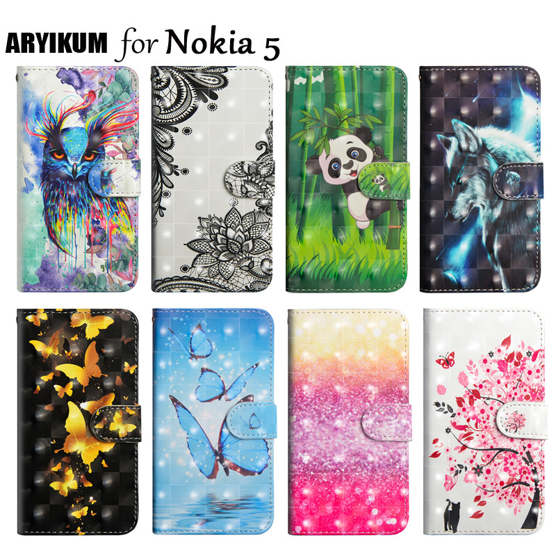 Phone Case sFor Nokia <font><b>5</b></font> Cases Flip Wallet PU Leather Painted Cover For Nokia5 with Stand Card Slot Capa For Nokia <font><b>5</b></font> <font><b>TA</b></font> <font><b>1053</b></font> 1024 image
