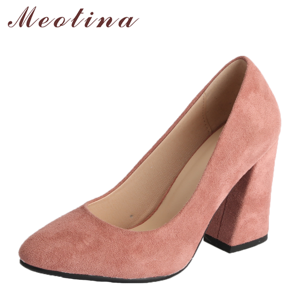 Meotina Women Pumps High Heels Office Lady Shoes Block Heel Spring Shoes Women 2018 Shallow Work Shoes Pink Black Big Size 34-43 meotina high heels shoes women wedding shoes platform high heel pumps ankle strap bow spring 2018 shoes white pink big size 43
