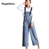 Ryseleco 2018 Spring Casual Women Denim Jumpsuits Brief Ankle Length Pants Fashion Wide Leg Pants Solid