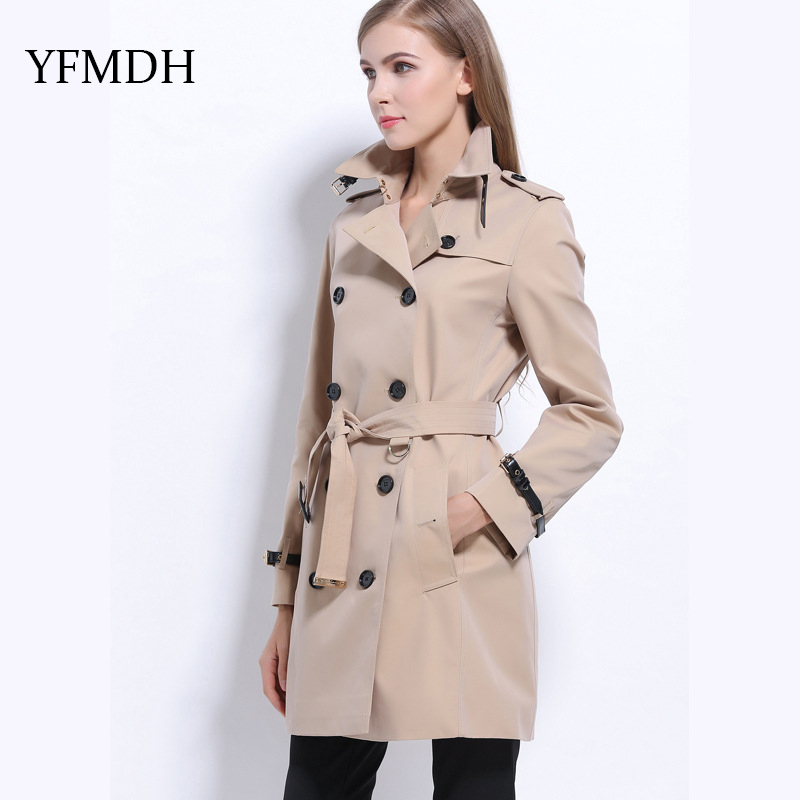 2018 Autumn New Europe America Turn-down Collar Woman Classic Double Breasted   Trench   Coat Waterproof Raincoat Business Outerwear