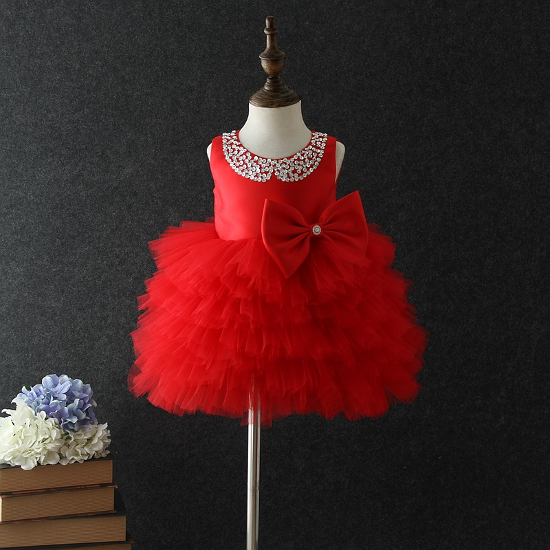 Ball Gown Birthday Baby Girl Dresses Red Wedding Princess Vestidos 2018 Baby Clothes For Girls Of 1 2 3 4 5 Years Old RBF184028