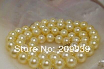 Huij 003316 véritable océan Akoya eau salée naturelle or collier de perles 14 18kgold