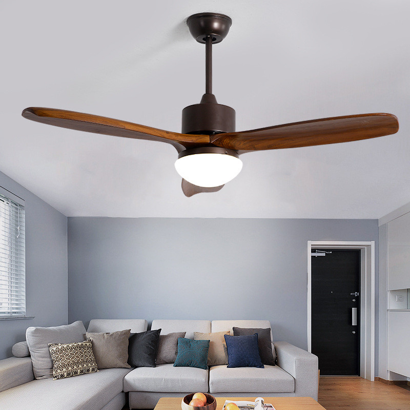 Nordic Wooden Led Ceiling Fan Light Fashion Double Color