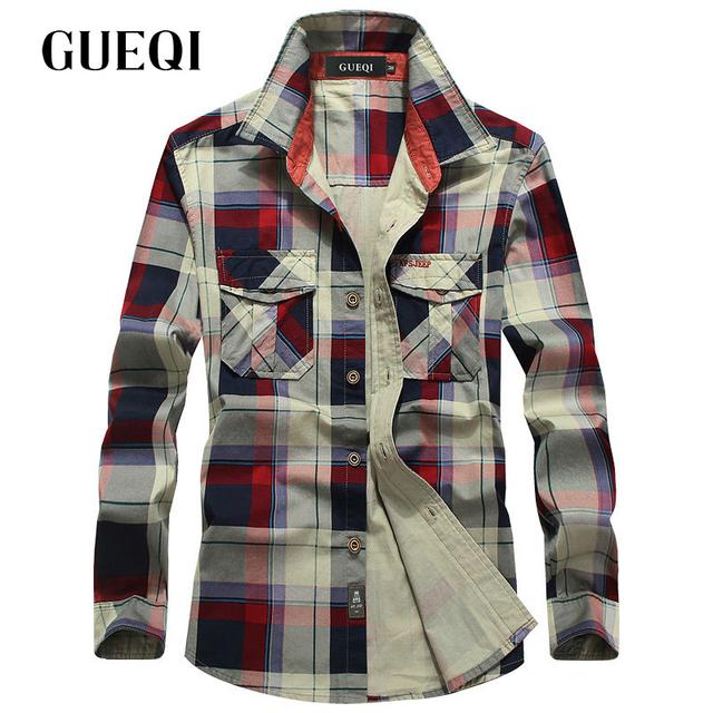 Gueqi hombres de marca de moda camisas de tela escocesa más el tamaño m-4xl de manga larga casual clothing 2017 buena calidad hombre transpirable camisas de algodón