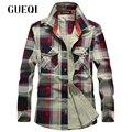 Gueqi homens marca de moda camisas xadrez plus size m-4xl manga longa casual clothing 2017 boa qualidade homem camisas de algodão respirável
