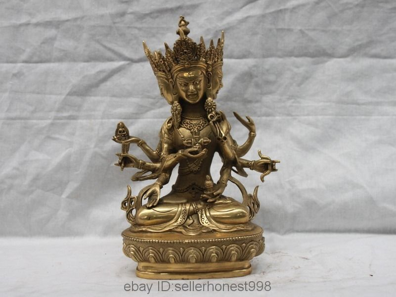 9Tibet Buddhism Brass 3 head 8 arms Ushnishavijaya Namgyalma Kwan-Yin statue9Tibet Buddhism Brass 3 head 8 arms Ushnishavijaya Namgyalma Kwan-Yin statue
