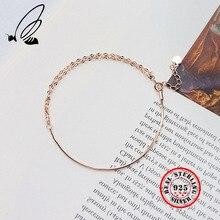 100% 925 Sterling Silver Snake Chain Water Wave Bracelets Rose Gold Slim Elegant Female Fine Jewelry Charm Gift