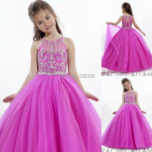 Hermoso Vestido de Baile Vestido de Tul de Alta Cuello Piso Longitud ...