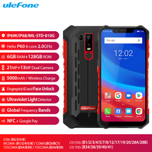 Ulefone Armor 6 IP68 Waterproof Mobile Phone 6.2inch 19:9 FHD+ 6G+128G Helio P60 Android 8.1 5000mAh NFC Face Unlock Smartphone