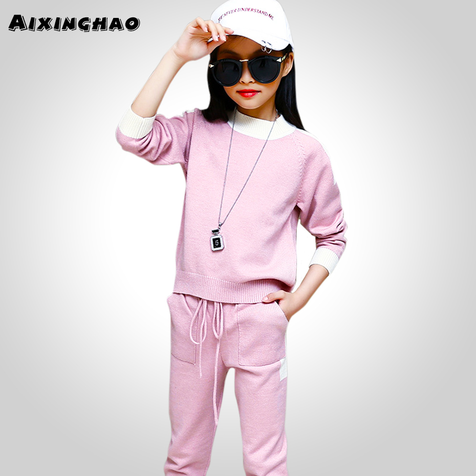 Aixinghao Children Clothing Spring Sweater + Knitted Pants Girls Clothes For Kids Casual Teen Girls Clothing Sets 6 8 10 12 Year
