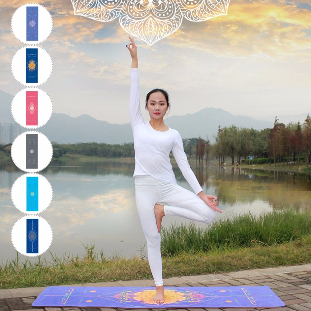 Rectangle Yoga Mat Double-sided Unique Print Position Line Sports Fitness Towels Non Slip Microfiber Slimming Product Hot New