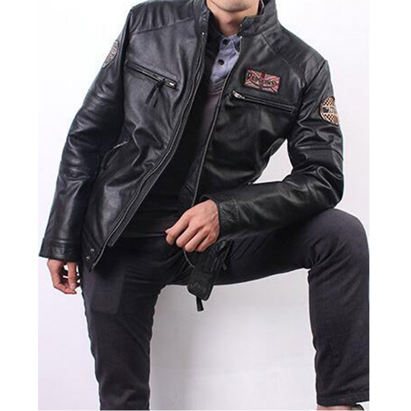Jacket Aviator Coat Flight-Pilot Motorcycle Genuine Natural Winter for Men Male Men's