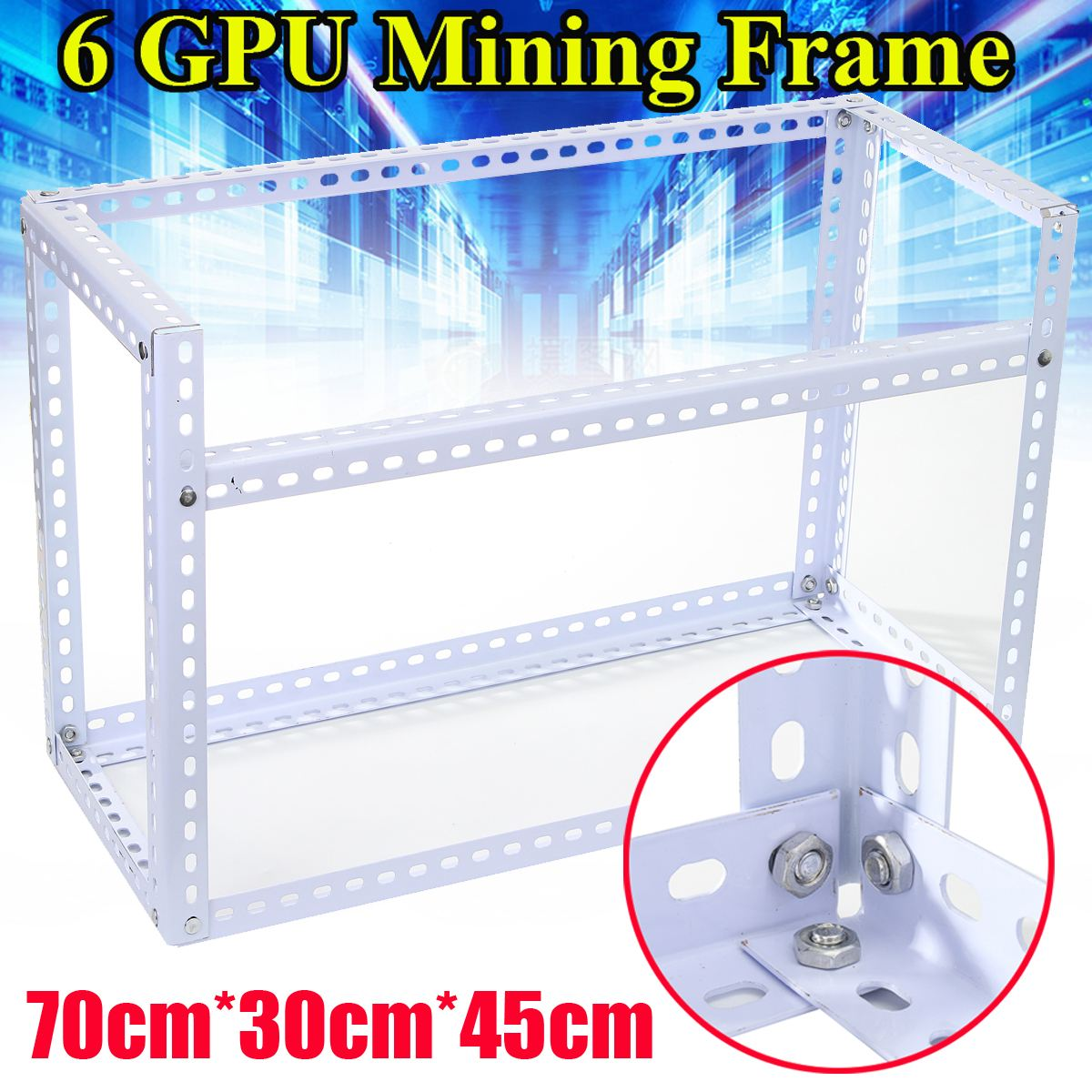 6GPU DIY Steel Stackable Miner Frame Case Mining Rig Frame 70cm*30cm*45cm for Bitcoin BTC Mining Crypto Machine White yunhui used btc miner antminer s5 1150g 28nm bm1384 bitcoin mining machine asic miner with power supply ship by dhl or spsr
