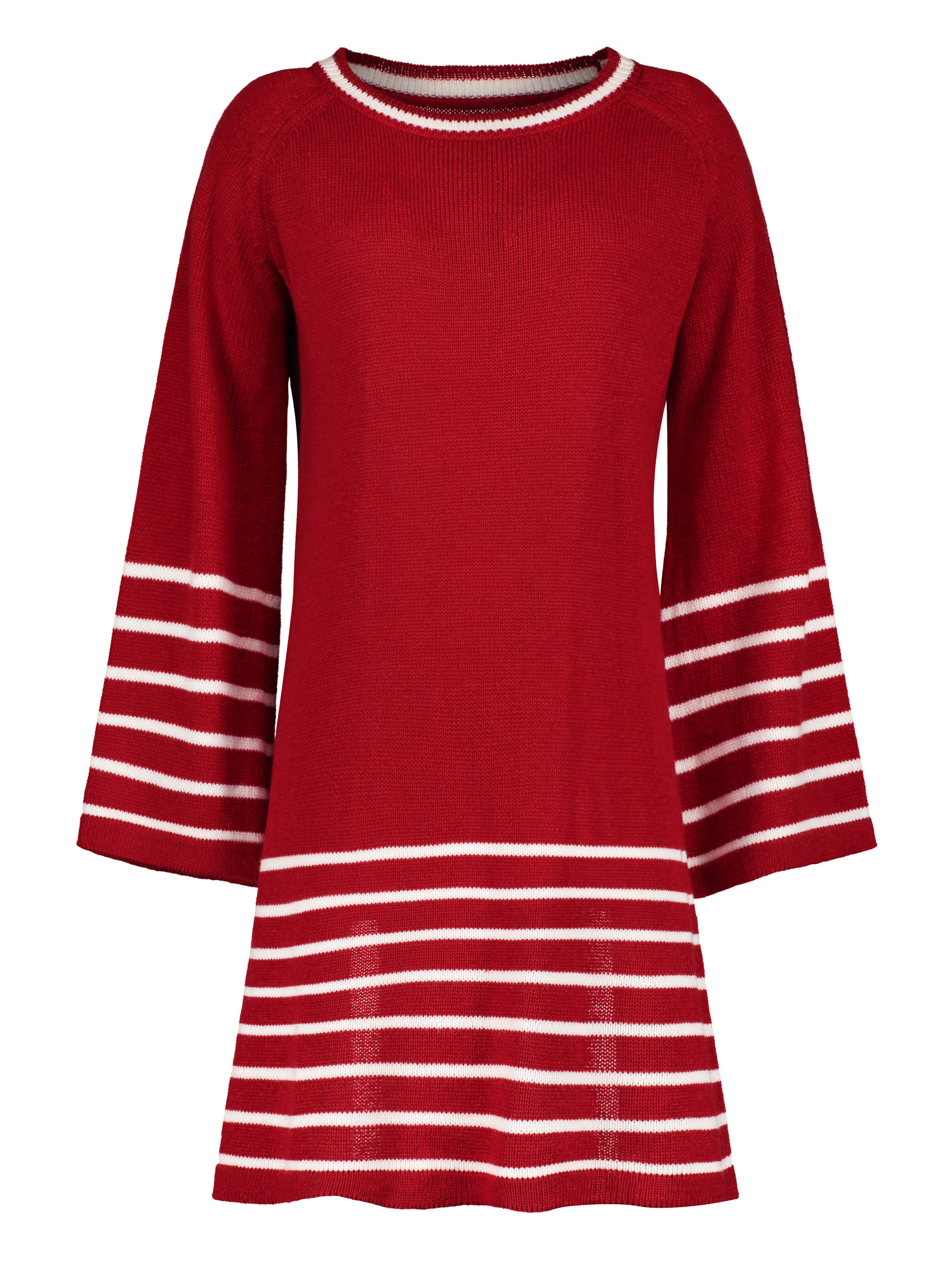 Casual O neck long knitted sweater dress women Cotton slim A line dress knee length pullover female Spring winter striped dress