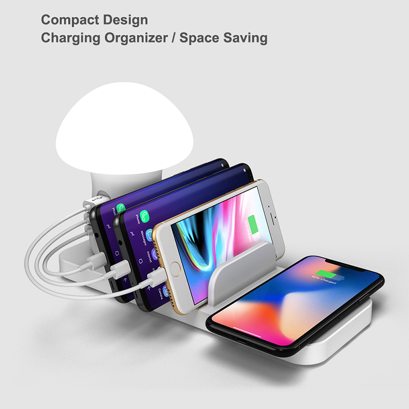 Image 3 - Leebote Multiple USB Phone Charger Mushroom Night Lamp Wireless Charging Station Dock QC 3.0 Quick Charger for Mobile Phones-in Mobile Phone Chargers from Cellphones & Telecommunications