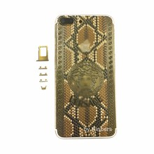 For iPhone 7 Plus 5 5 24K 24KT 24CT Gold Indian Diamnond Crystal Back Cover Housing