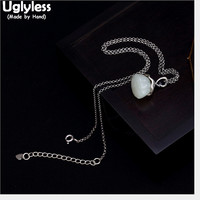 Uglyless 100% Real Solid 925 Sterling Silver Handmade Jade Lotus Necklaces for Women Natural Gemstones Floral Pendant With Chain