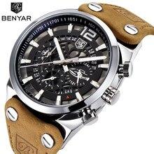 Benyar 2020 New Sport Heren Horloges Militaire Chronograaf Quartz Man Outdoor Grote Wijzerplaat Horloge Leger Mannelijke Klok Relogio Masculino