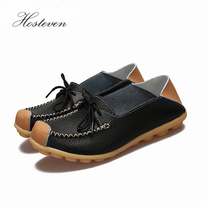 цены Women's Shoes Flats Genuine Leather Mother Shoes Girls Ladies Casual Shoes Comfortable Breathable Women Loafers Moccasins