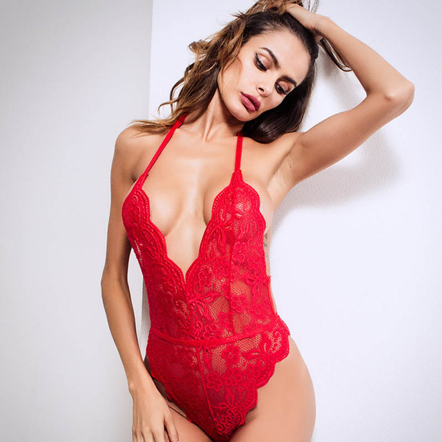 G-string Sexy mujer Lencería chica profundo V Floral encaje ropa de dormir Babydoll erótico cosplay traje Lencería porno sensual ropa interior