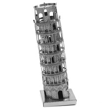 Leaning Tower Of Pisa Fun 3D Metal DIY Miniature Model Kits Puzzle Toys Children Educational Boy Splicing Science Hobby Building
