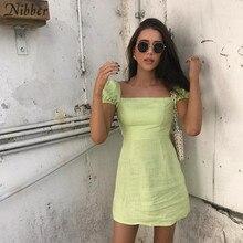 Nibber Francese romanticismo Elegante mini abiti delle donne 2019 di estate ufficio delle signore High street Beach per il tempo libero per le vacanze abiti corti mujer