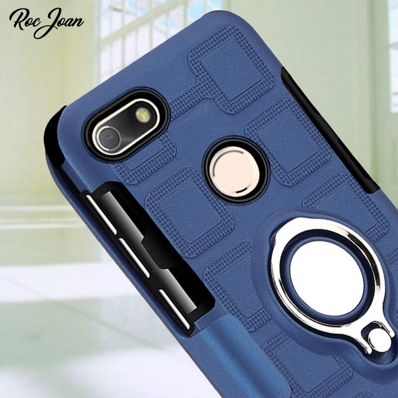 Roc Joan Matte Ice Feel Case For Huawei P9 Lite Mini Armor Metal Ring Car Holder