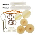 Beige/Café/Negro Señora Hair Styling Base Accesorio Hacedor Pads Horquillas de Clip Insert Tool Tool Kit Pelo Rubio Bun Donut Set