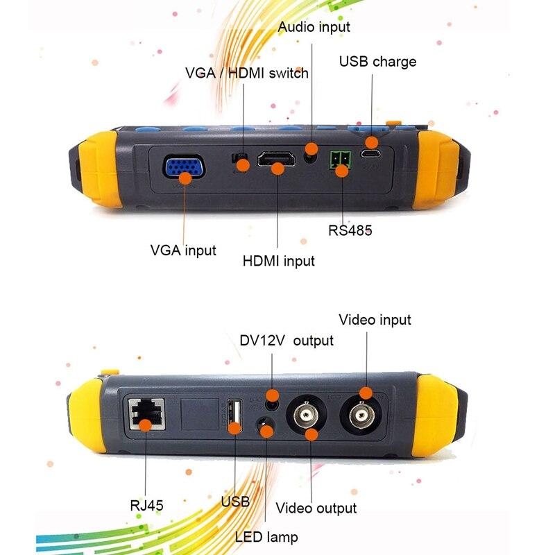 5 Pollici Tft Lcd Hd 5Mp Tvi Ahd Cvi Cvbs Analogico Tester Telecamera di Sicurezza Monitor in Uno Cctv Tester Vga ingresso Hdmi Iv8W (Spina Degli Stati Uniti) - 4