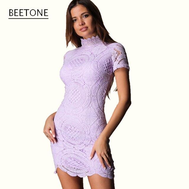 Beetone летний новый женская кружева холлоу vestidos мода урожай подставка mini dress 2017 клубная вечеринка сексуальное короткое твердые фиолетовый платья