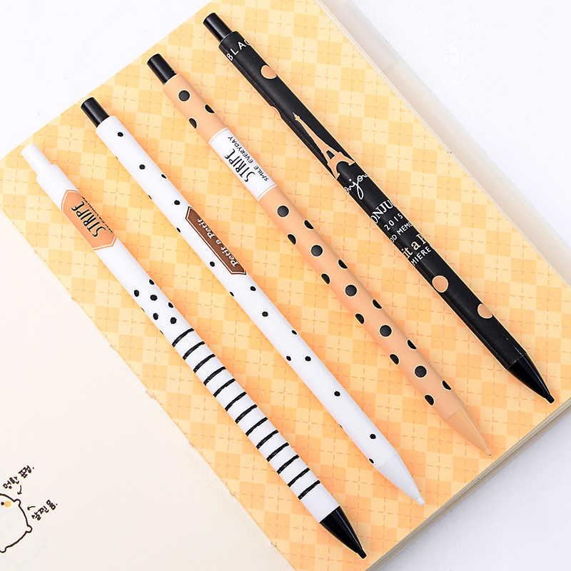 4 adet/grup yaratıcı mekanik kurşun kalem sevimli otomatik kalem dalga noktası basit aktivite kalem yazma çocuklar için okul malzemeleri 0.5mm