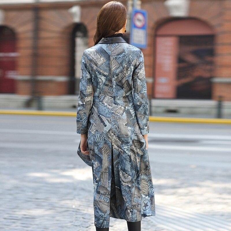 Véritable De Réel Longue coat Winderbreaker Femmes Cuir Mince Manteau Mouton Automne Femelle Outwear Trench Photo Color En Peau Veste rzqpwWcFPr