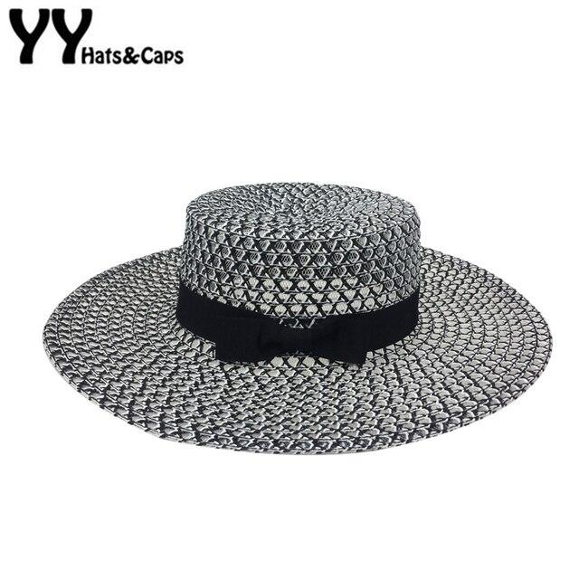 2e9a7d97a21 Black White Straw Hats Women Summer Wide Brim Beach Caps Fashion Flat Top  Sunhats Lady Mesh Breathable Bow Sun Visor Cap YY18049