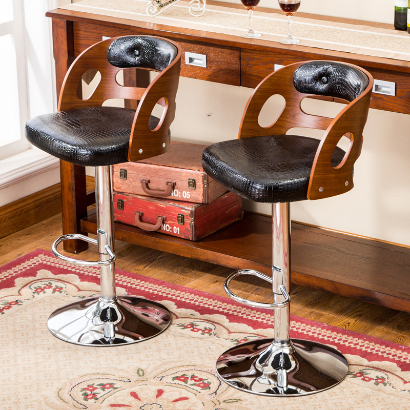 Wooden Back Bar Chair Multi function Front Desk Retro High Stool with Footrest Household Stable Balcony Leisure Stool PU Seat in Office Chairs from Furniture