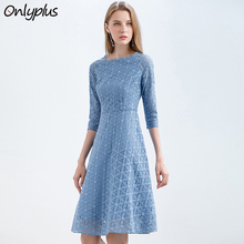 Onlyplus Women Blue Lace Dress Floral Vintage Slim Party Dresses Autumn Sweet Female Lace Up Fashion Elegant A-line Dress все цены