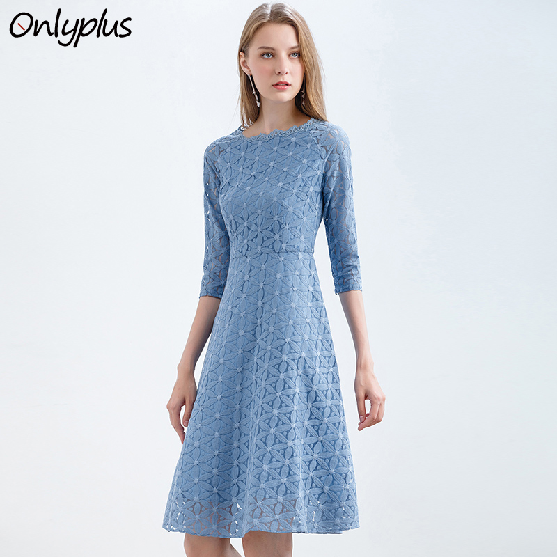 Onlyplus Women Blue Lace Dress Floral Vintage Slim Party Dresses Autumn Sweet Female Lace Up Fashion Elegant A line Dress