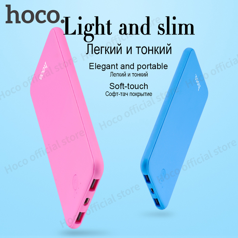 HOCO B8 6000mAh Power Bank Ultra thin External charger powerbank for all mobile phone LED indication