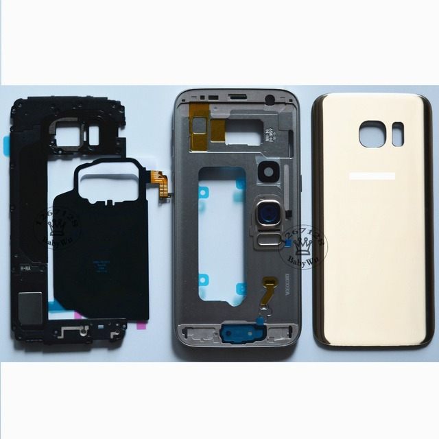 For Samsung Galaxy S7 G930 Front LCD Middle Frame Full  Housing Chassis+Rear Case  + Side Button Key + Battery Cover Door Case