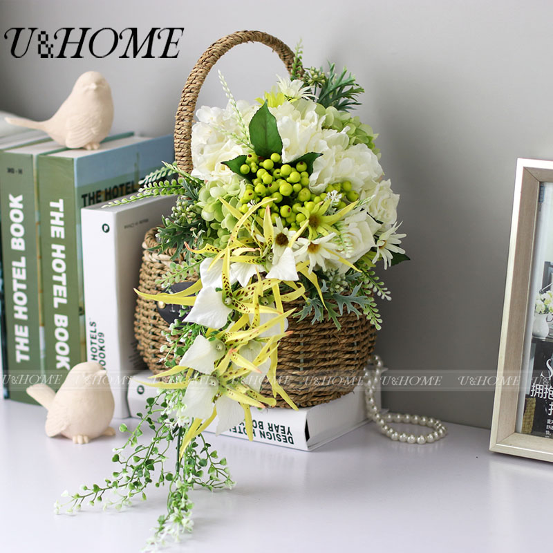 Artificial DIY bride bouquet silk white rose green berries orchid hydrangea for home wedding <font><b>flower</b></font> decoration bulk high quality