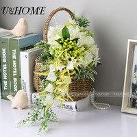 Bagas artificiais DIY noiva buquê de flores de seda rosa branca verde hortênsia orquídea para casa decoração com flores do casamento em massa de alta qualidade