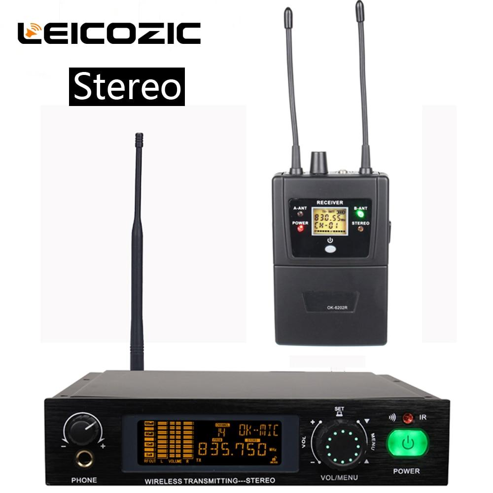Leicozic Stereo in ear monitor system professional estéreo sistema de monitor sem fio para o sistema de monitoramento de desempenho do estágio 782IEM