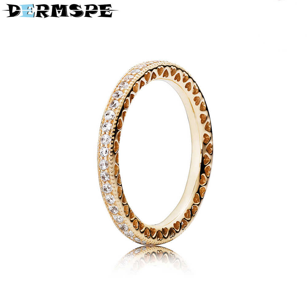 1af32699f DERMSPE 100% Sterling silver Jewelry 150181CZ HEARTS OF 14CT GOLD STACKABLE  RING Original Women wedding
